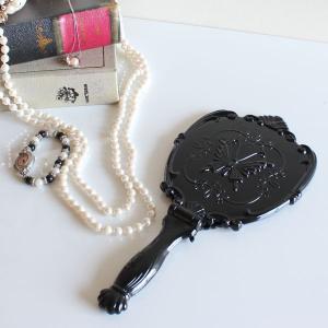手鏡 お姫様 姫系 インテリア 家具 クラシック アンティーク調ミニミラー ハンドミラー 鏡 ゴシック かわいい 鏡 蝶 ST-365 ブラック 黒|arne