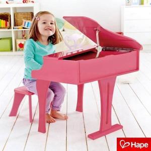 ピアノ おもちゃ 幼児用 トイピアノ グランドピアノ 楽器 E0319 Hape ハッピーグランドピアノ(ピンク) 送料無料|arne