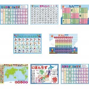 学習ポスター 8種類セット (数字 九九 日本地図 世界地図 ひらがな カタカナ 漢字 アルファベット) A3サイズ (420×297mm)|aroma-etoile