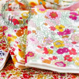 プリント ハンカチ 日本製 Chouchou Fleu rシュシュフルール プチギフトプレゼント 子供 女性 花 フラワー お返し|aromagestore