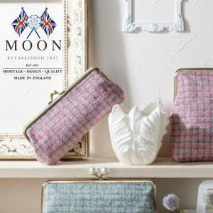 ペンケース MOON チェック ウール かわいい レディース がま口 英国製生地 パステルカラー 織りネーム ブークレ|aromagestore