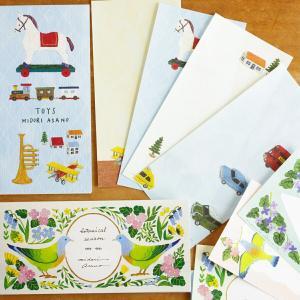 一筆箋 おしゃれ 大人 cozyca products 日本製 美濃和紙 浅野みどり レター boranical season TOYS メール便|aromagestore