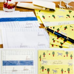 レターセット 大人 おしゃれ cozyca products 日本製 美濃和紙 西淑 ミニ テーブルの湖 Playground 小さめ メール便|aromagestore