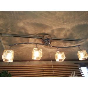 シーリングライト スポットライト LED 4灯 ガラス おしゃれ おすすめ 送料無料 キシマ CRACK CUBE クリア|aromainterior