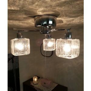 シーリングライト LED可 3灯 ガラス おしゃれ おすすめ キシマ CRACK CUBE 送料無料 クリア|aromainterior