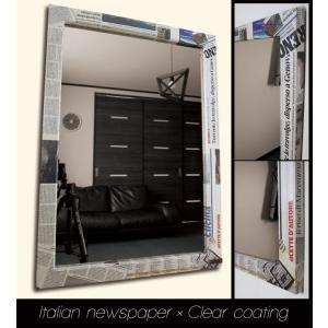 ニュースペーパー イタリア フレーム デザイン ミラー 鏡 Lサイズ アンティーク|aromainterior