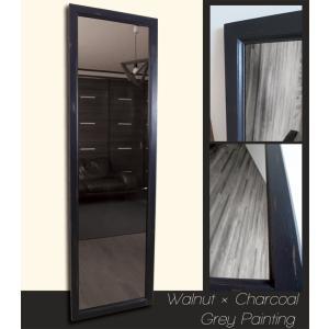 アンティーク加工 デザイン ミラー 鏡 姿見サイズ ウォルナット×チャコールグレー フレーム|aromainterior
