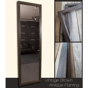 アンティーク加工 デザイン ミラー 鏡 姿見サイズ ヴィンテージ×ブラウン フレーム|aromainterior