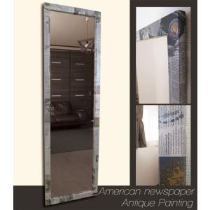 ニュースペーパー アメリカ×アンティークブラック フレーム デザイン ミラー 鏡 姿見サイズ|aromainterior