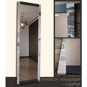 ニュースペーパー アメリカ×ブラックレザー フレーム デザイン ミラー 鏡 姿見サイズ|aromainterior