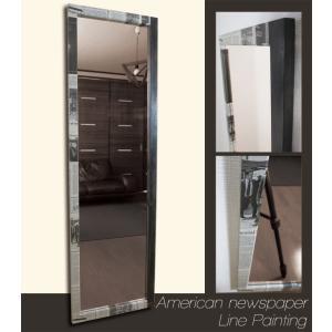 ニュースペーパー アメリカ×ライン フレーム デザイン ミラー 鏡 姿見サイズ|aromainterior