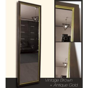 アンティーク加工 デザイン ミラー 鏡 姿見サイズ ヴィンテージブラウン×アンティークゴールド フレーム|aromainterior