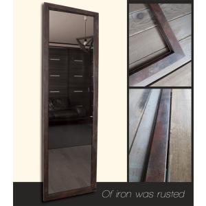 アンティーク加工 デザイン ミラー 鏡 姿見サイズ 鉄錆色 フレーム|aromainterior