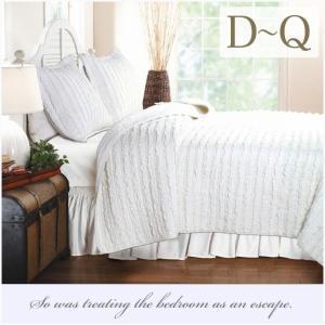 ベッドカバー ダブル クイーン 3点セット ホワイトラッフル ベッドキルト ソファーカバー|aromaroom