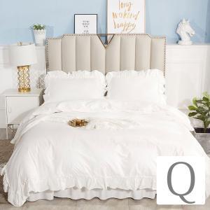 【優勝セール】 ベッドカバー クイーン シャビーホワイトフリル ベッド カバー 4点セット|aromaroom