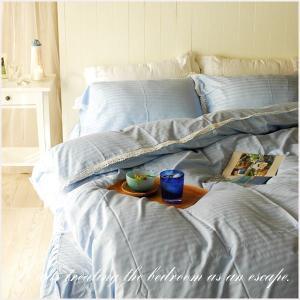 ベッドカバー キング イノセントブルーレース ベッドカバー 4点セット aromaroom