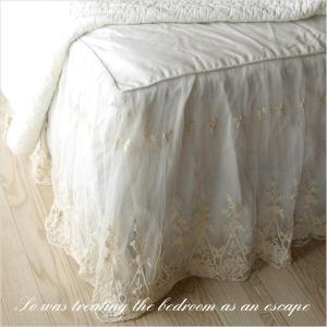 ビンテージレース ベッドスカート クイーン フリル45cm 日本サイズ用|aromaroom