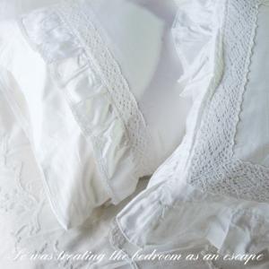 枕カバー ピローカバー 50cm×70cm シャビーホワイトフリル|aromaroom