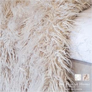 ブランケット ひざ掛け Pom Pom at Home エヴァスロー152x127cm (サンド/ホワイト) aromaroom