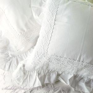 シャビーホワイトフリル クッション カバー 45×45cm|aromaroom