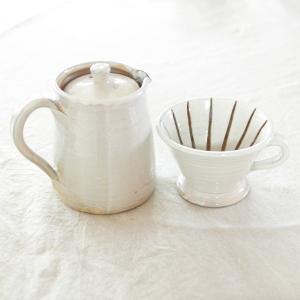 陶器コーヒーポット&ドリッパーセット(白)・辰巳窯