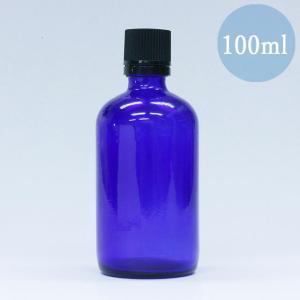 遮光瓶 ドロッパー付き 容器 ノーマル 100ml 青色 ガラス 遮光ビン|aromatherapy