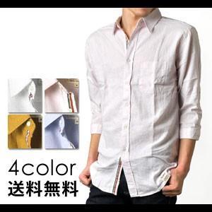 リネンシャツ 麻混7分袖シャツ|aronacasual