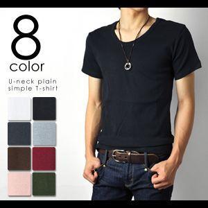 Tシャツ Uネック無地シンプル半袖Tシャツ|aronacasual