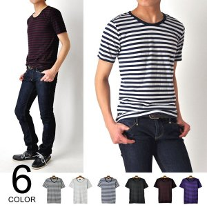 Tシャツ ティーシャツ Uネックボーダー半袖《M1》|aronacasual