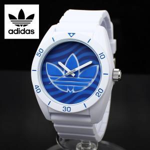 ADIDAS アディダス 腕時計 スポーツウォッチ ミドルサイズ ホワイト×ブルーウェイブ SANTIAGO サンティアゴ ADH3195 白 青 ボーイズサイズ|around