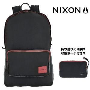 NIXON(ニクソン)EVERYDAY BACKPACK(エブリデイ バックパック) リュック 折りたたみ式(パッカブル) サブバッグ C2428-008 ブラック・レッド 黒色 赤色 around