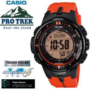 プロトレック PROTREK 電波ソーラー カシオ 腕時計 オレンジ PRW-3000-4 around