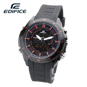 【安心2年保証】CASIO カシオ EDIFICE エディフィス アナログ・デジタル 温度計 クロノ ブラック オレンジ EFA-132PB-1A 男性用 腕時計 ラバーベルト|around