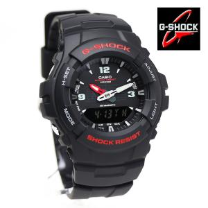 安心2年保証 CASIO カシオ G-SHOCK ジーショック シンプル スタンダード アナデジモデル G-100-1B ブラック レッド 黒 赤 アナログ デジタル|around
