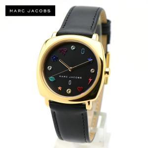安心2年保証 MARC JACOBS 女性用 腕時計 ブラックレザーベルト イエローゴールド MJ1597 MANDY マンディ マークジェイコブス レディース ウォッチ アナログ|around