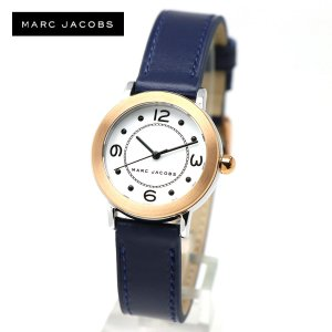 安心2年保証 MARC JACOBS 腕時計 ホワイト ローズゴールド MJ1604 RILEY ライリー マークジェイコブス スモール アナログ ネイビー レザーベルト|around
