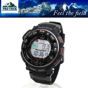 【安心2年保証】CASIO カシオ 電波 ソーラー PROTREK プロトレック 登山用 腕時計 PRW-2500R-1 ブラック デジタル around
