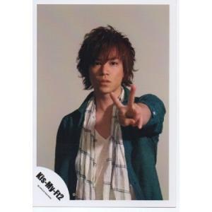 千賀健永(Kis-My-Ft2/キスマイ) 公式生写真/衣装緑×白・カメラ目線・ピース arraysbook