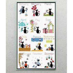 クロスステッチ DIY 刺繍キット 手芸キット 図案 初心者 壁アート 黒猫 かわいい 癒しキャラ 簡単 壁飾り 刺繍 アートパネル モダン 送料無料 日本語解説付き|arsion