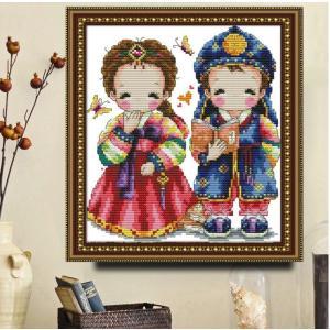 クロスステッチ 韓国の結婚式 刺繍キット DIY 初心者 指ぬき 糸通し付き 家庭刺繍装飾品 ホームデコレーション芸術 贈り物 創造的装飾 壁アート 芸術品 部屋飾り|arsion