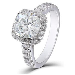 DovEggs 指輪 2カラット Goodカット 豪華 Iカラー リング 一粒 大粒 シルバー アクセサリー モアッサナイト エンゲージリング ストーン 婚約指輪 結婚 女性用|arsion