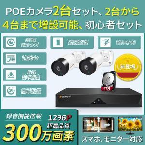 防犯カメラ 2台セット 300万画素 簡単設置 動体検知 スマホ 遠隔 監視 カメラ 最大4台まで 増設可能 1TB HDD 内蔵 WIFI H.264+ 屋外屋内兼用 無線 IP68 防水|arsion