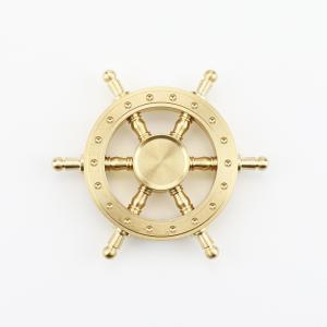 ハンドスピナー 舵 かじ   純銅製 高速回転 ストレス解消  取り外し ゴールド|arsion