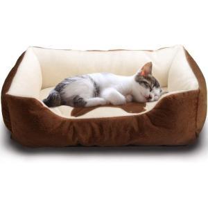 ペットベット ペットソファ ソフト マットペット用品 通年タイプ クッション 洗える ふんわり 小型犬/猫用, ブラウン Sサイズ|arsion