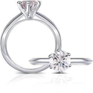 リング 指輪 プラチナ シルバーメッキ 1カラット 6.5mm G-H-Iカラーグレード 2mmバンド幅 モアッサナイト 婚約指輪 ソリティア 女性用|arsion