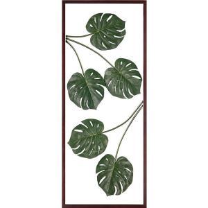 シンプルな壁面をシックに、且つアートに彩るウォールグリーンの壁掛け、リーフアートパネル。  精巧なフ...