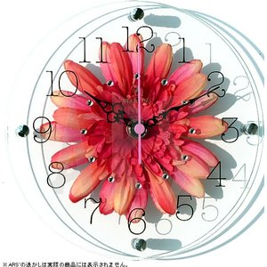 2枚のガラスの中にみずみずしいアートフラワーのフェイクグリーンを挟み、オシャレな掛け時計にしました。...