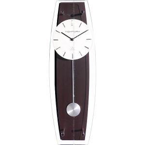 スチールとウッド、ガラスという異素材の組合せがスタイリッシュにマッチしたオシャレな電波振り子時計です...