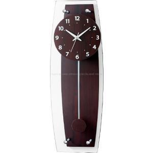 ウッドとガラスという異素材の組合せがスタイリッシュにマッチしたオシャレな電波振り子時計です。 前面に...