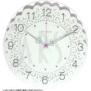 ピンクの秒針がキュートなオシャレな掛け時計です。 壁に映る陰影が印象的なレース模様と輝く12個のアク...